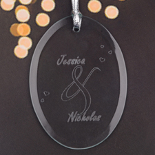 Personalized Laser Etched Lasting Love Glass Ornament