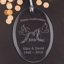 Personalized Laser Etched Enchanting Romance Glass Ornament