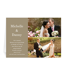 Personalized Elegant Collage Gold Wedding Announcement Greeting Cards