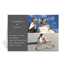 Personalized Elegant Collage Grey Wedding Announcement Greeting Cards