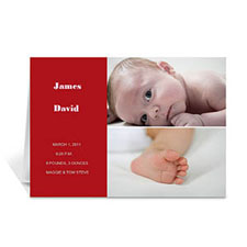 Personalized Elegant Collage Red Birth Announcement Greeting Cards