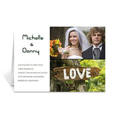 Personalized Elegant Collage White Wedding Announcement Greeting Cards