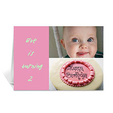 Personalized Elegant Collage Pink Birthday Greetings Greeting Cards