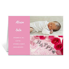 Personalized Elegant Collage Pink Birth Announcement Greeting Cards