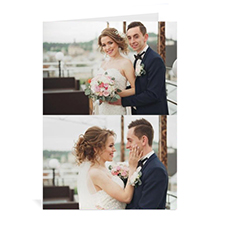 Personalized Classic Two Photo Collage Wedding Card, Portrait