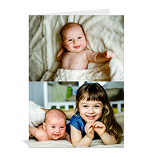 Personalized White Two Collage Baby Greeting Card