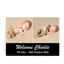 Personalized Black Two Collage Baby Photo Cards