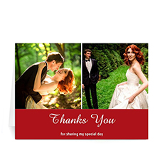 Personalized Two Collage Wedding Photo Cards, 5X7 Simple Red