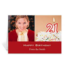 Personalized Two Collage Birthday Photo Cards, 5X7 Simple Red