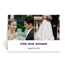 Personalized Two Collage Wedding Photo Cards, 5X7 Simple White
