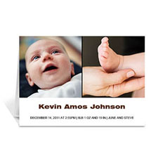 Personalized Two Collage Baby Photo Cards, 5X7 Simple White