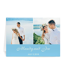 Personalized Two Collage Wedding Photo Cards, 5X7 Simple Blue