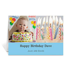 Personalized Two Collage Birthday Photo Cards, 5X7 Simple Baby Blue