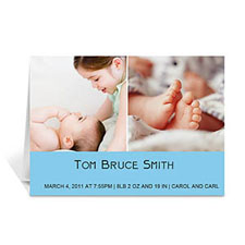 Personalized Two Collage Baby Photo Cards, 5X7 Simple Blue