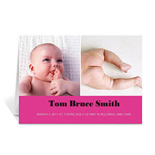 Personalized Two Collage Baby Photo Cards, 5X7 Simple Hot Pink