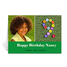 Personalized Two Collage Birthday Photo Cards, 5X7 Simple Green