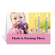 Personalized Two Collage Birthday Photo Cards, 5X7 Simple Pink
