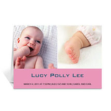 Personalized Two Collage Baby Photo Cards, 5X7 Simple Pink
