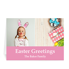 Personalized Two Collage Easter Photo Cards, 5X7 Simple Pink