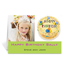 Personalized Two Collage Birthday Photo Cards, 5X7 Simple Lime