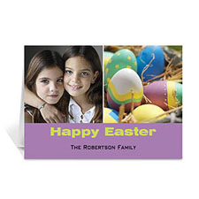 Personalized Two Collage Easter Photo Cards, 5X7 Simple Purple