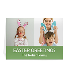 Personalized Two Collage Easter Photo Cards, 5X7 Simple Green