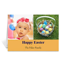 Personalized Two Collage Easter Photo Cards, 5X7 Simple Orange