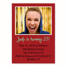 Personalized Red Birthday Invitations, 5X7 Stationery Card
