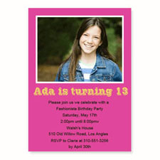 Personalized Hot Pink Birthday Invitations, 5X7 Stationery Card