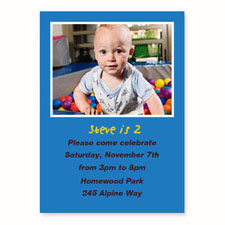 Personalized Blue Birthday Invitations, 5X7 Stationery Card