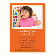 Personalized Orange Birthday Invitations, 5X7 Stationery Card