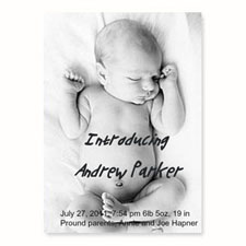 Personalized Full Photo Birth Announcements, 5X7 Portrait Stationery Card