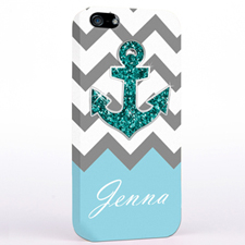Personalized Glitter Turquoise Anchor Grey Chevron iPhone Case