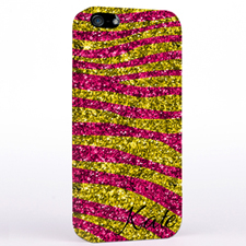 Personalized Glitter Fuchsia Animal Print iPhone Case