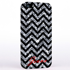 Personalized Glitter Silver Chevron iPhone Case