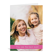 Personalized Personalized Mothers Day Greeting Cards, 5X7 Folded Pink
