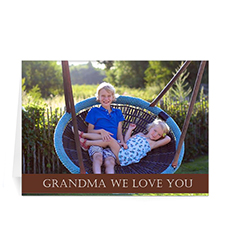Personalized Mothers Day Photo Greeting Cards, 5X7 Folded Chocolate