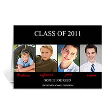 Custom Printed Four Collage Graduation Announcement, Elegant Black Greeting Card
