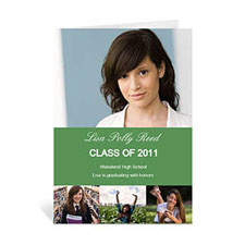 Custom Printed Four Collage Graduation Announcement, Honored Green Greeting Card