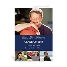 Custom Printed Four Collage Graduation Announcement, Honored Blue Greeting Card