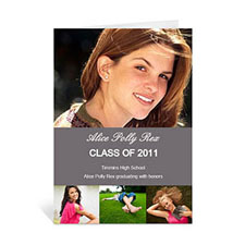 Custom Printed Four Collage Graduation Announcement, Honored Grey Greeting Card