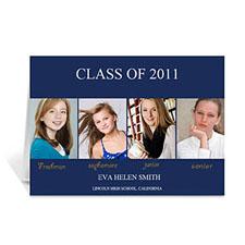 Custom Printed Four Collage Graduation Announcement, Elegant Blue Greeting Card