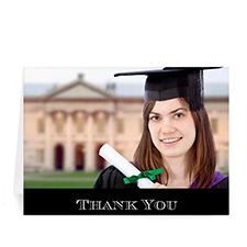 Custom Printed Graduation Thank You Card, Stylish Black Greeting Card