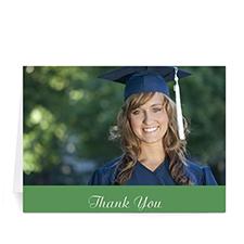 Custom Printed Graduation Thank You Card, Stylish Green Greeting Card