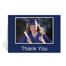 Custom Printed Graduation Thank You Card, Many Memories Blue Greeting Card