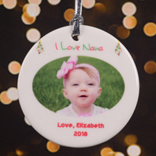 I Love Nana Personalized Photo Porcelain Ornament