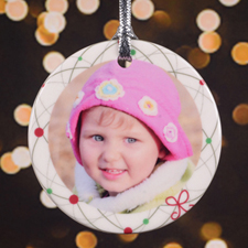 Merry Little Pattern Personalized Photo Porcelain Ornament