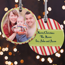 Season Of Cheer Personalized Photo Porcelain Ornament