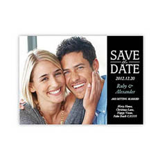 Personalized Our Day, Classic Black Save The Date Invitation Cards