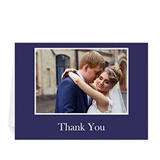 Custom Printed Classic American Blue Photo Wedding Cards, 5X7 Folded Greeting Card